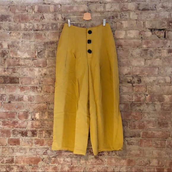 0997e0b7ea Zara Mustard Yellow Wide-leg Pants